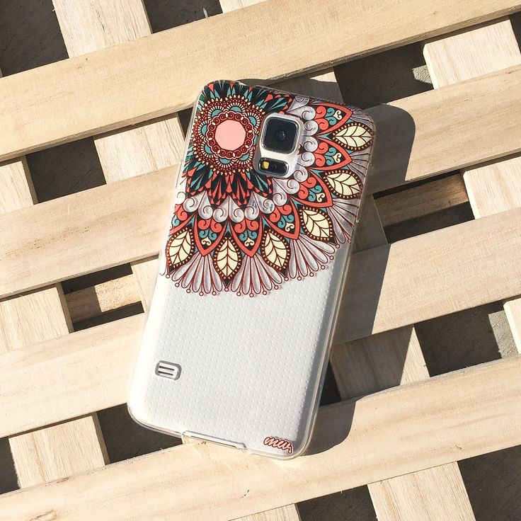 CLEAR PLASTIC CASE COVER for SAMSUNG GALAXY S5 SV i9600 - (HENNA) FLORAL MANDALA