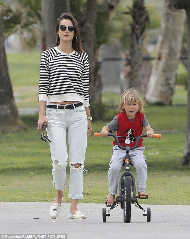 Ready, set, go: Alessandra Ambrosio enjoyed a mother son day with little Noah in Santa Monica, California, on Tuesday afternoon