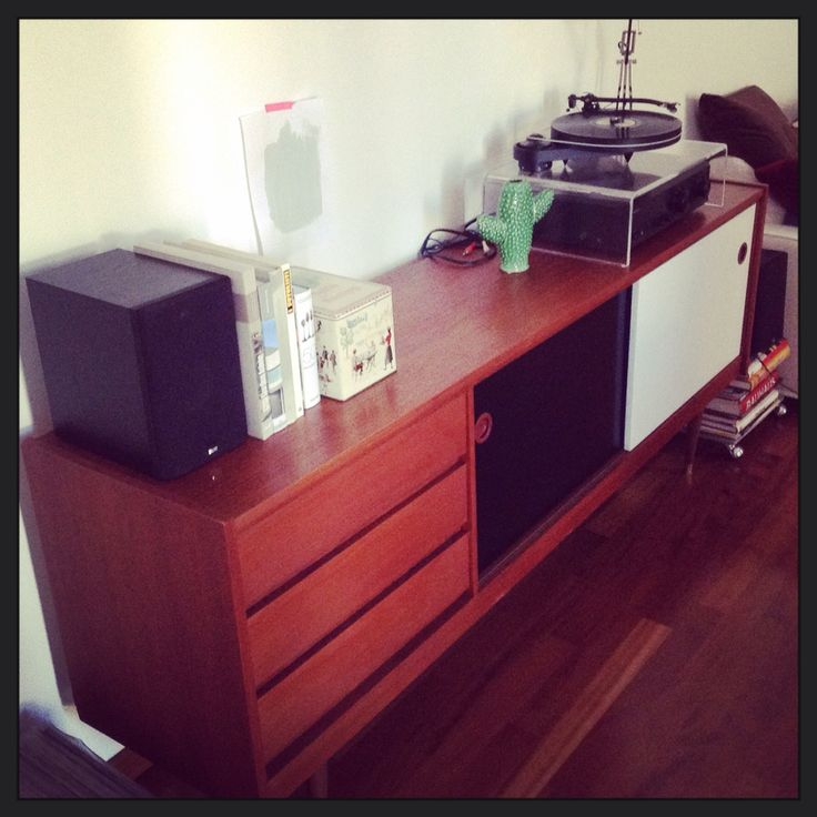 Our danish vintage sideboard. And the music corner. Working on colors for the background..