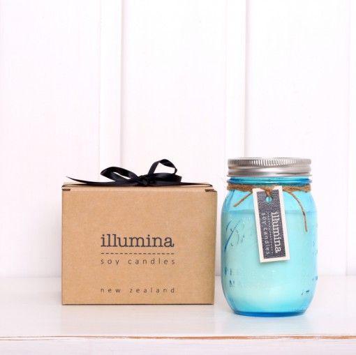 Illumina Soy Candles in Blue Mason Jar