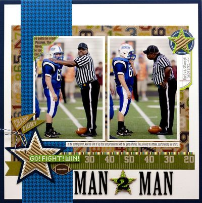 Man 2 Man Layout by Laina Lamb using Game Day Chili papers and the corrugated star shapes (via the Jillibean Soup blog).