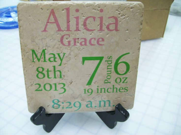 36 best ceramic tile gifts images on pinterest table cards and personalized baby tile 6x6 tile with printed baby statistics printed not vinyl great for negle Choice Image