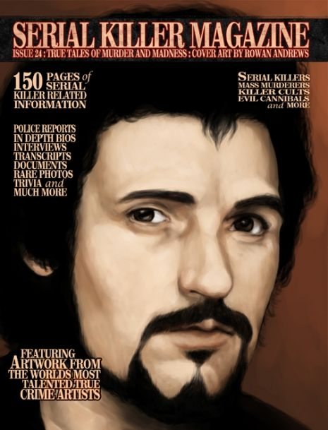 """Issue #24 and an illustration of UK killer Peter Sutcliffe, aka the """"Yorkshire Ripper."""" Sutcliffe was convicted of murdering thirteen women over the course of five years."""