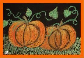 Chalk on black paper - pumpkins in the moonlight