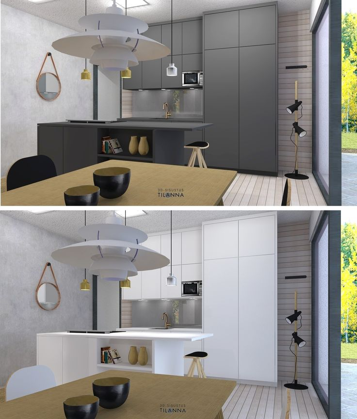 Uudiskohteen 3D-sisustussuunnittelu/ musta, hiilenharmaa keittiö ja valkoinen keittiö, pyöreä peili, pH 5 valaisin, boconcept cone- lattiavalaisin, savun harmaa huurrelasi välitilassa, puupaneeliseinä, betoniseinä, lankkulattia, valaisimet  Fry & Jones cell naked/ 3D-sisustus Tilanna