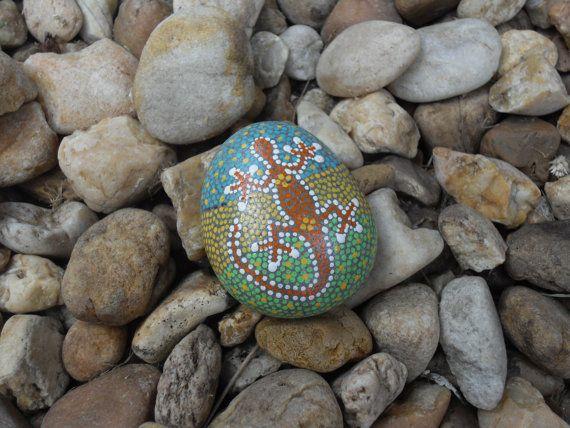 Geverfde stenen strand rotsen Papiergewichten door TripleBTreasures