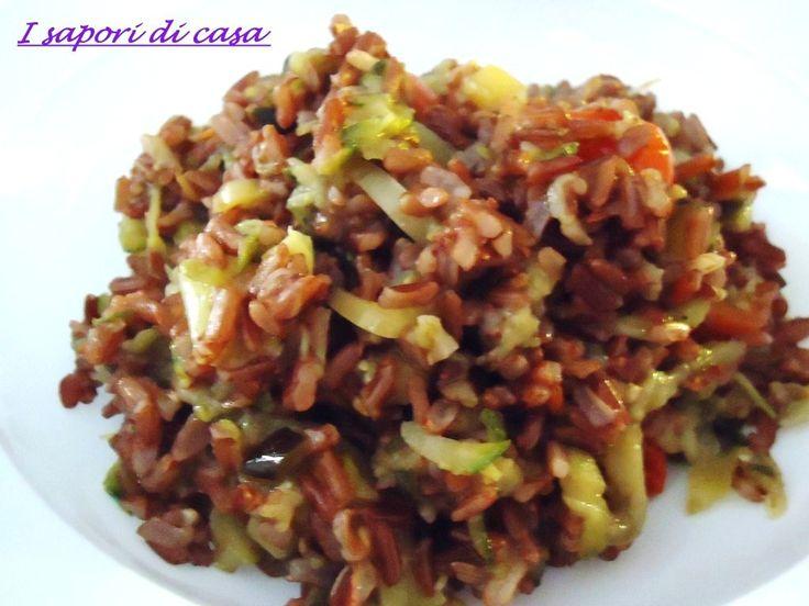 riso rosso thai con verdure saltate
