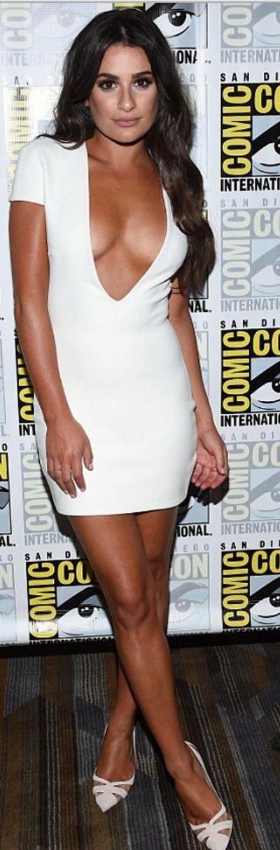 Lea Michele: Jewelry – Dana Rebecca and Melissa Kaye  Dress – Solace London  Shoes – Salvatore Ferragamo