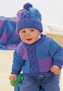 Colorwork patterns and cables combine in this adorable set for ages 6-24 months. Shown in Patons Astra.