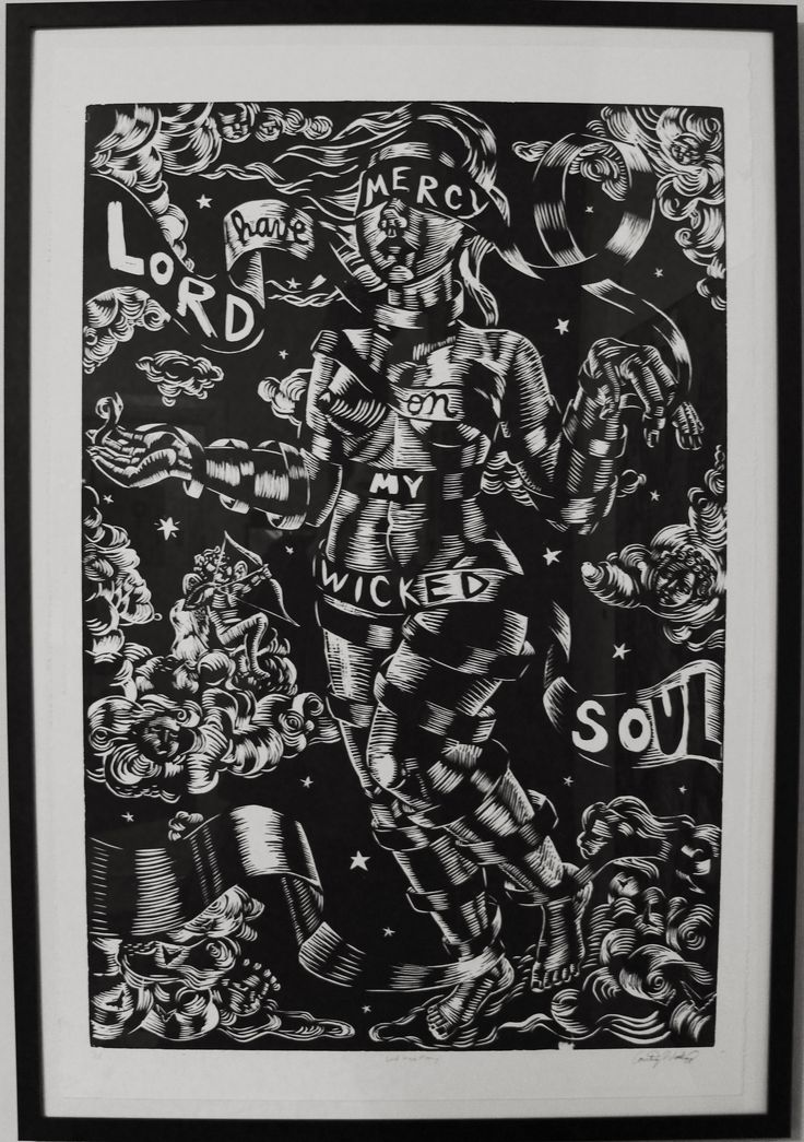"Courtney Woodruff ""Lord Have Mercy"" Woodcut Print (24"" x 36"") Signed AP"