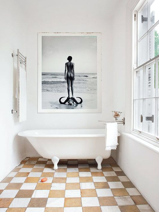 modern neutrals. | checkerboard floor, white bath tub, black and white photography, large scale art