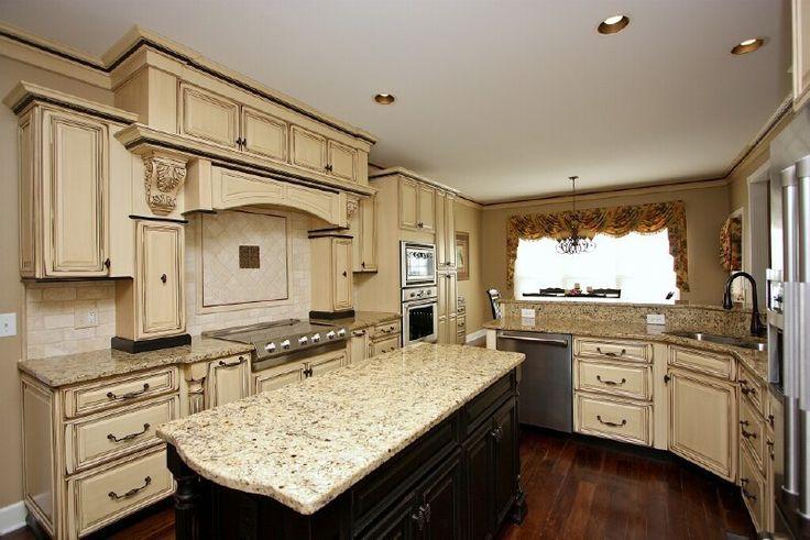 Remarkable Antique White Glazed Kitchen Cabinets Kitchen ...