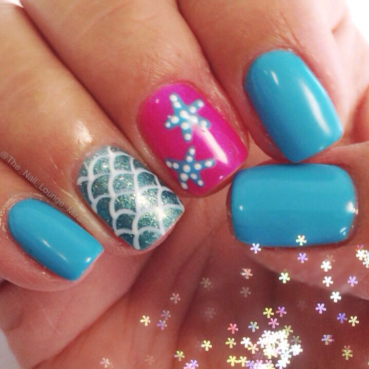 Mermaid starfish nail art design
