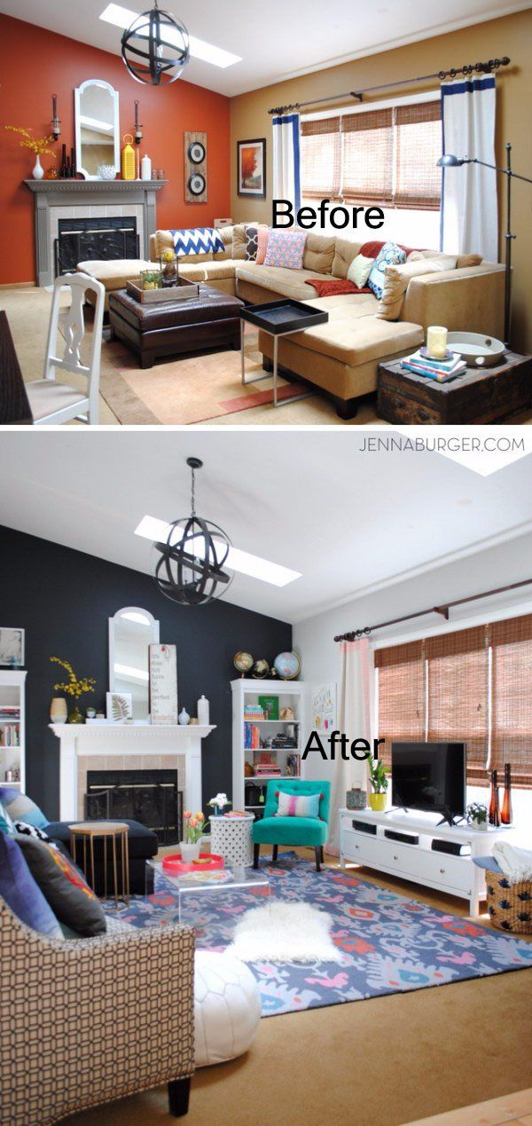 Living Room Makeover With Bold Black And Pops Of Color.