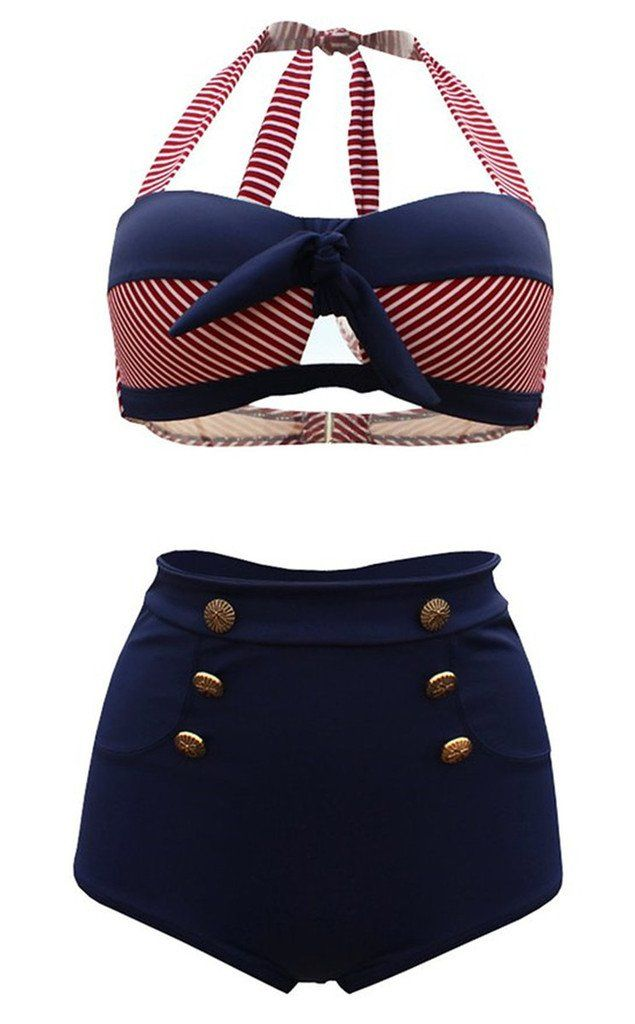 Tailloday Vintage Bikini Retro Femme 2 pieces Maillot de bain Taille haute style M Noir et bleu