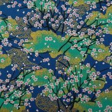 Tissu bleu, vert et doré cerisiers