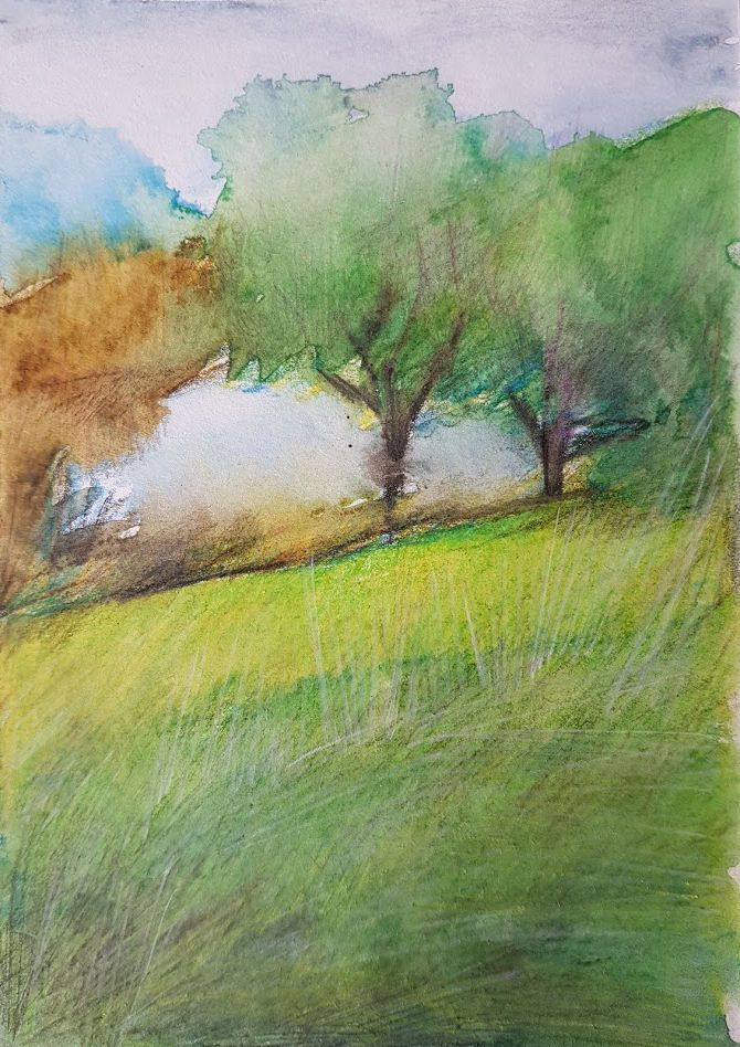 Aquarelle pencil watercolour original painting on paper 'The clouds roll in over the hills' by JoDalgetyArt on Etsy