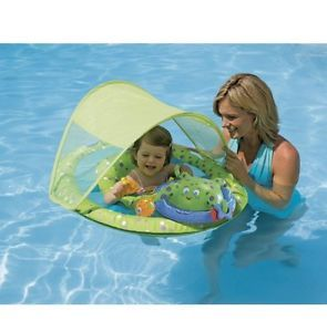 This is the ultimate Baby Spring Float to introduce baby to the water, helping them stay comfortable and happy. All the features of the original Baby Spring Float plus more! This float includes a removable canopy and an octupus arm to hold babies toys in place!  13 x 13 x 3 inches ; 3.2 pounds  Adjustable, removable canopy offers protection from the sun. Interactive play station with activities for every developmental stage. Octopus arms hold toys baby can touch and activate: Squeaker…