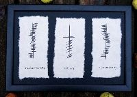 Friendship, Love, Loyalty Ogham Wall Hanging.    Ogham is an ancient form of writing found in most Celtic lands. It was written vertically, and read from the bottom to top. These framed wall hangings have the Ogham writing, along with the Irish & English translations, on hand-made paper. Made in Ireland. This piece measures approximately 10.5 inches by 15 inches.