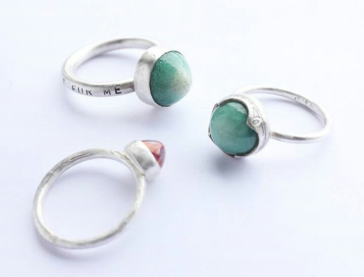 """Top: """"Shine a Little Light for Me"""", green porcelain gem, plain bezel flat setting, 100% recycled silver. Right: Green porcelain gem, fancy bezel flat setting (street lamp detail), 100% recycled silver. Left: Dark pink porcelain gem, plain bezel flat setting, textured shank, 100% recycled silver. Liv Thrane Jewellery. www.facebook.com/livthranejewellery & www.livthrane.com"""