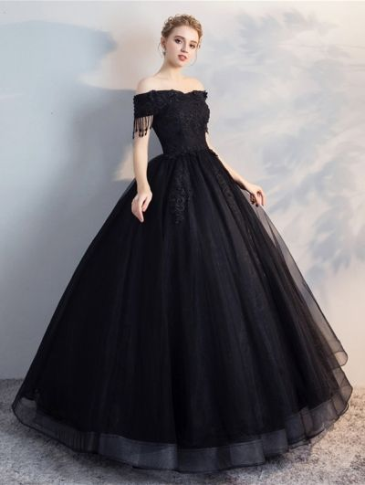 c8ad2fde8ddff Black Gothic Off-the-Shoulder Lace Appliqued Ball Gown Wedding Dress ...