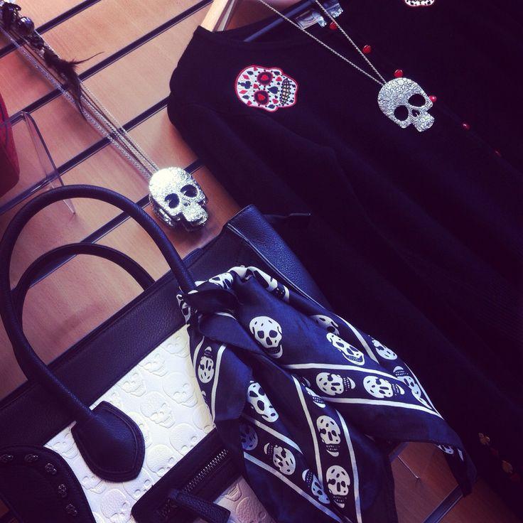 Wall of skulls in the shop today www.ceryscloset.co.uk #skull #rockabilly #pinup #cardi #bag #necklace #ceryscloset