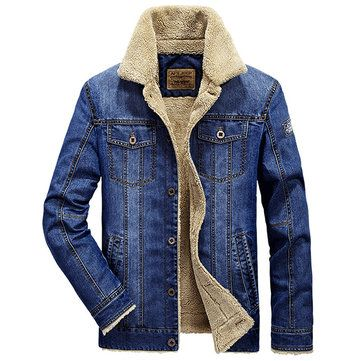 Multi Pockets Fleece Denim Jackets