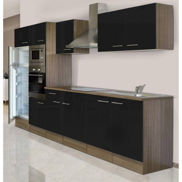 Respekta Küchenzeile KB330EYSMIGKE 330 cm Schwarz-Eiche York - küchenzeile 160 cm