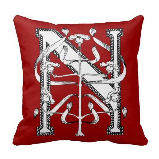 Design Sponge Throw Pillows : Novelty Throw Pillows Initial Cap Decorative Floral Design Vintage Throw Pillows Furniture ...