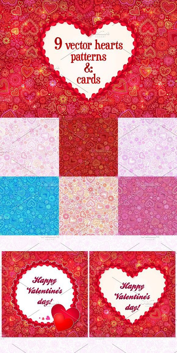 7 Valentines backgrounds & 2 cards. Patterns
