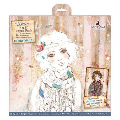 "Santoro's Willow 6 x 6"" Colour Me In Paper Pack (32pk) - Santoro"