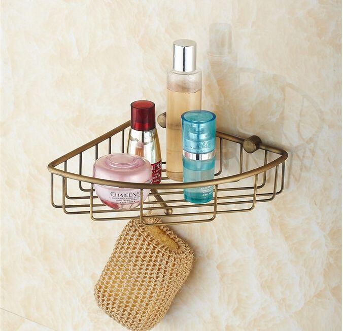 Useful Wall Mounted Antique Brass Bathroom Corner Shelf Bathroom Shampoo  Shelf Bath Shower Shelf Soap Holder