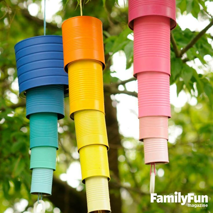 colorful coffee cans windchime