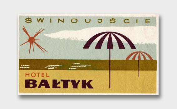 luggage label from Hotel Baltyk in Świnoujście, Poland   international mid-century modern graphic design.
