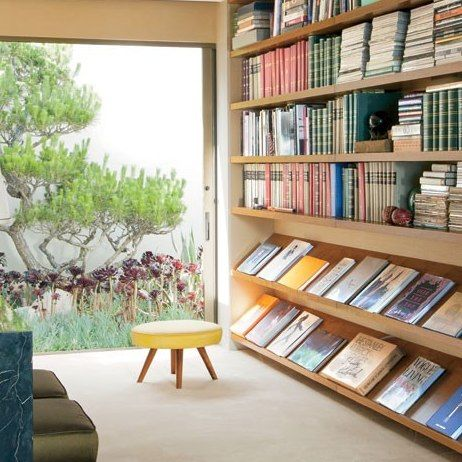 Steven Meisel's Midcentury House in Los Angeles : Architectural Digest. Library wall