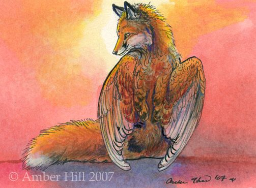 Cute winged fox flying along with the butterflies. Description from…