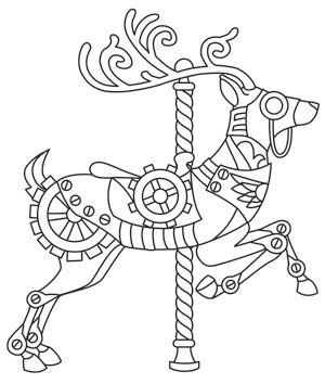 Steampunk Carousel - Deer design (UTH6910) from UrbanThreads.com 13 September 2013