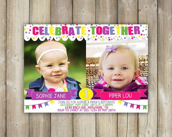 Joint Birthday Party Invitation - Digital File  Whether your best friends, cousins, or twins, this is the perfect invitation for your joint