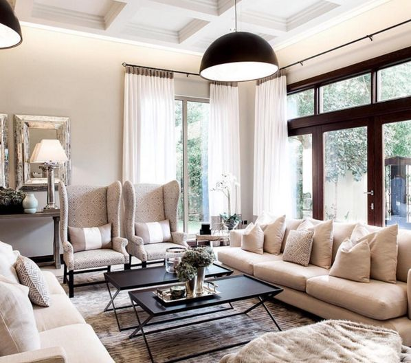 Monochromatic living room with the comfy couches | M Interior Design  @minterior