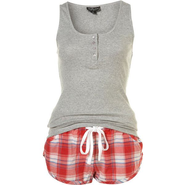 Red Check Pj Shorts And Rib Vest Set ❤ liked on Polyvore