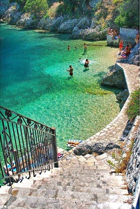"Steps to the Sea in Ithaca, Greece. Some call them the ""Stairway to Heaven!"""