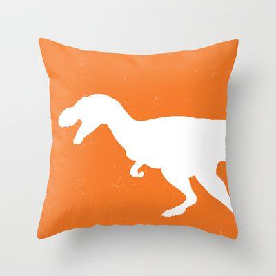 T-rex Orange Dinosaur Throw Pillow by Aldari Art Studio - $20.00,