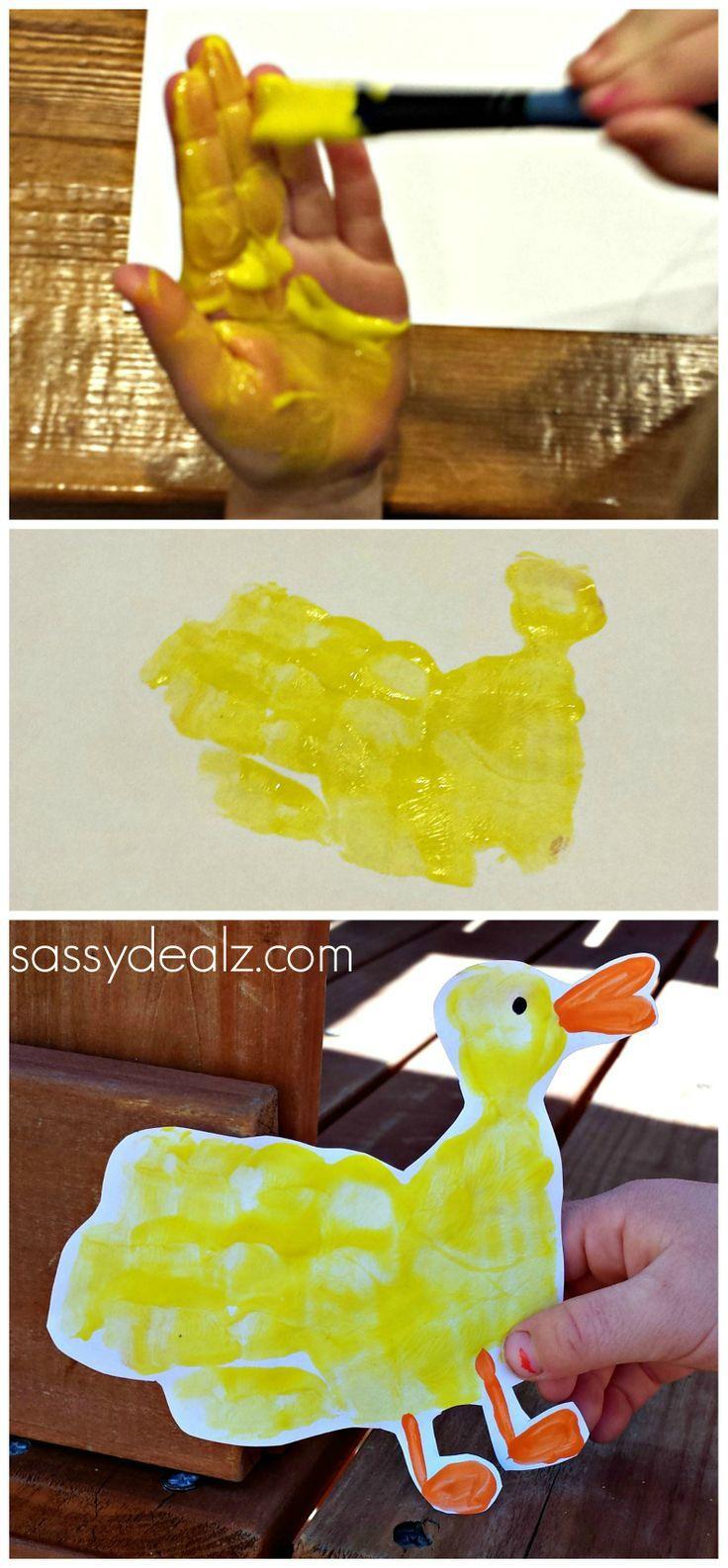 Duck Handprint Craft for Kids #DIY #Duck art project | CraftyMorning.com