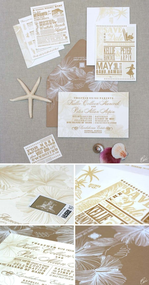 in wedding invitations is the man s name first%0A Vintage Hawaiian letterpress invites  I want to do something like this    But ours