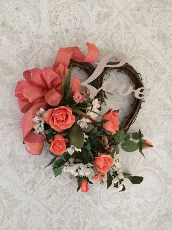 Heart Wreath Valentines Wreath Valentine's by AdorabellaWreaths
