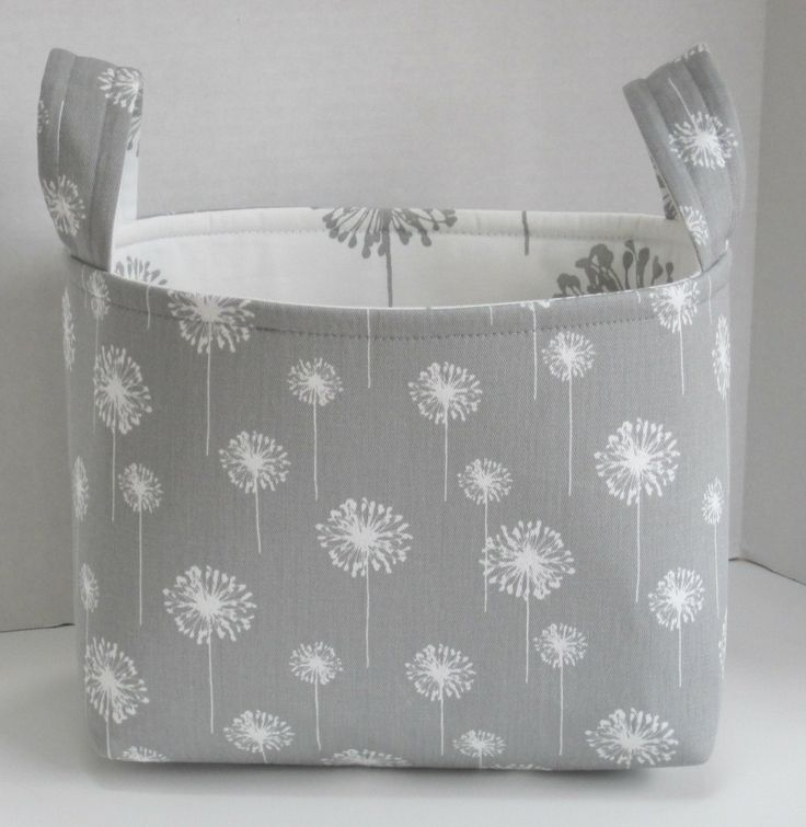 Large Gray and White Dandelion Floral Fabric Basket. $20.00, via Etsy.
