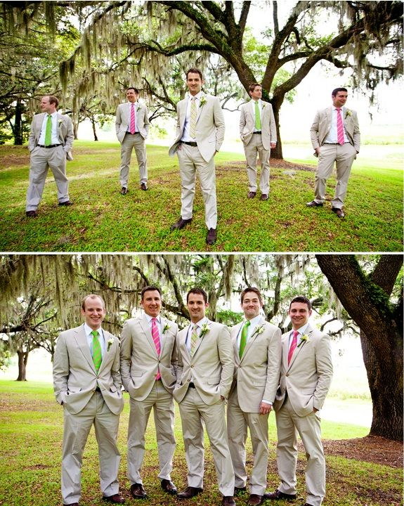 Litchfield Plantation wedding - Pawleys Island, South Carolina, tan groomsmen suits