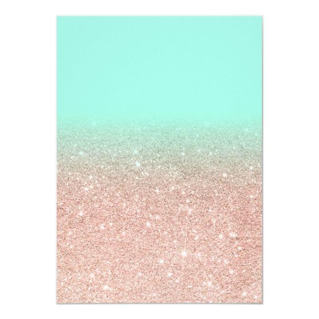 Modern Rose Gold Glitter Ombre Mint Photo Sweet 16 Invitation
