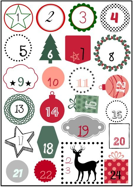 DIY: calendario del Adviento Fdefifi números descargables.