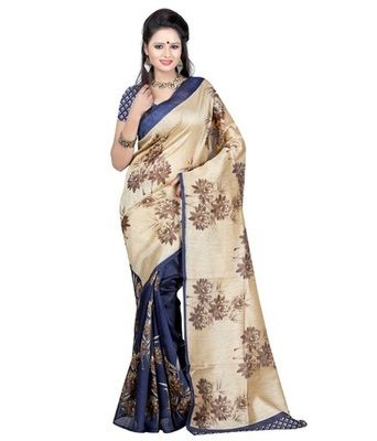 Beige and Blue printed art_silk saree with blouse